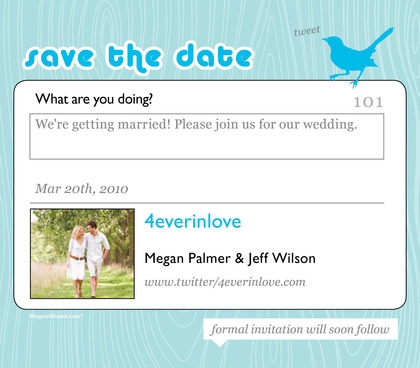 Social Networking Save the Date card