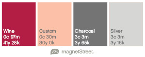 Wine, Pink, Charcoal and Silver Color Palette from MagnetStreet