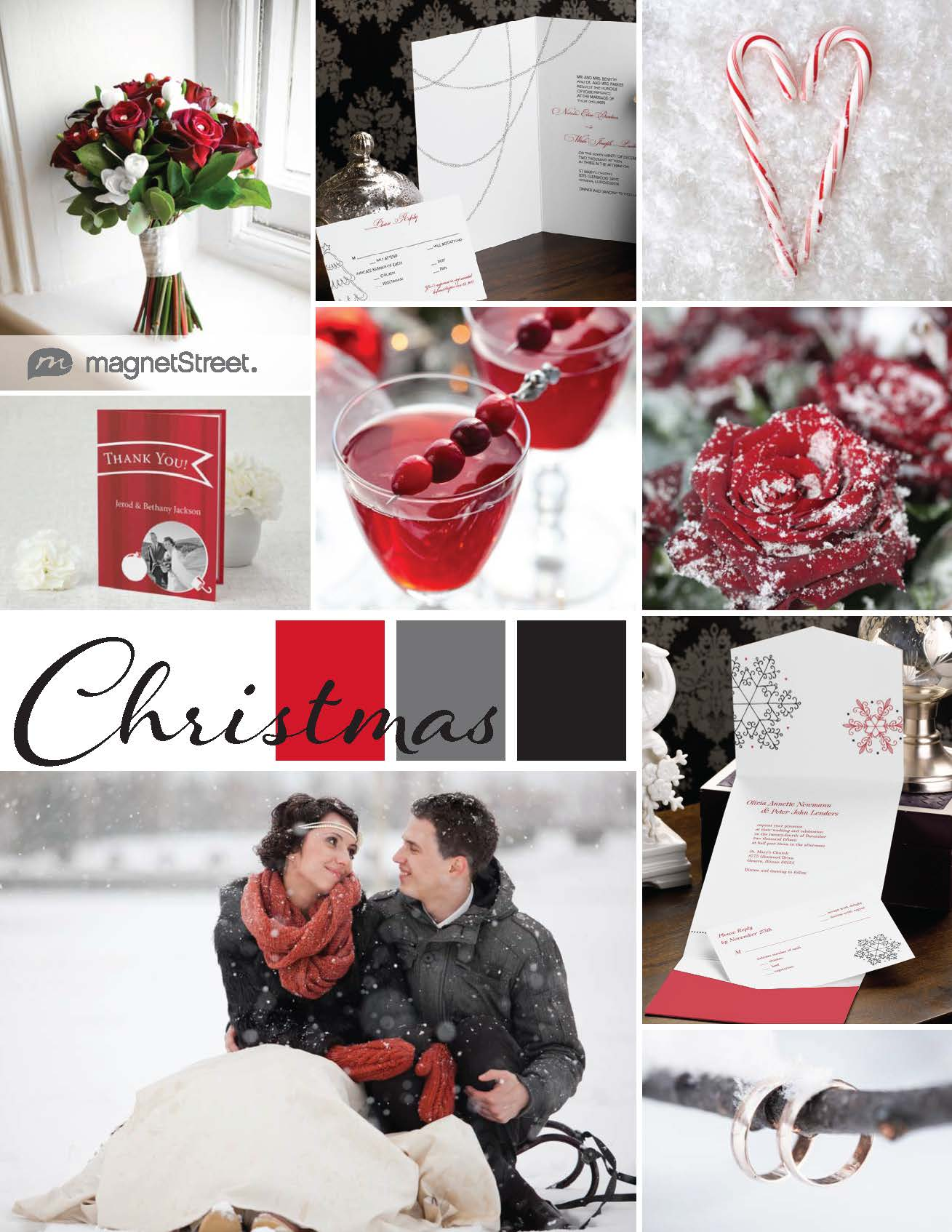 Holiday wedding inspiration in red, charcoal and black!